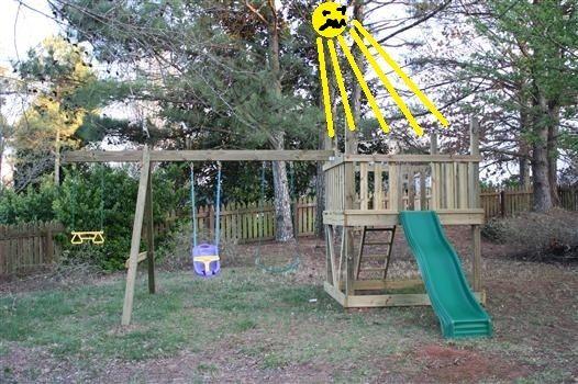 Viewalongtheway Backyard : playset too much sun  Stuff for my home  Pinterest