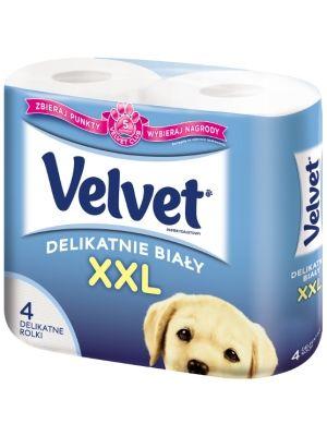 VELVET 4szt. XXL Biały Papier Toaletowy  • dwie warstwy bibułki • mięciutki i puszysty • delikatne dla skóry • większa rolka