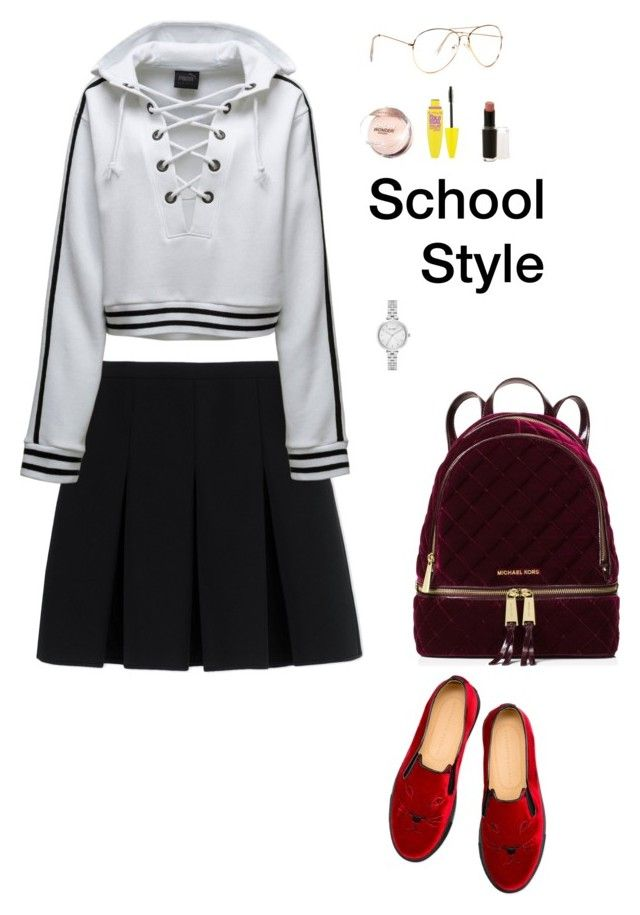 """School Style (1)"" by irisazlou on Polyvore featuring mode, Alexander Wang, Puma, Maybelline, Wet n Wild, Kate Spade, MICHAEL Michael Kors et Charlotte Olympia"
