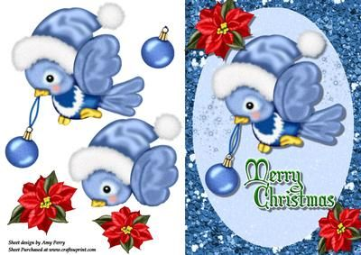 """Cute Bird With Blue Santa Hat on Craftsuprint designed by Amy Perry - Cute Bird With Blue Santa Hat in lovely glitter frame with corner flowers and """"Merry Christmas"""" writing, also has decoupage - Now available for download!"""