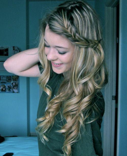 : Hair Ideas, Wedding Hair, Long Hair, Cute Hair, Girls Hairstyles, Hair Style, Side Braids, Curly Hair, Braids Hair