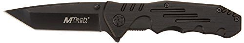 The MTech USA Folding Tactical Knife (model MT-378) features a tanto blade and a black steel handle with a 4-1/2-inch closed length. This tactical folding knife offers easy one-handed deployment via ...