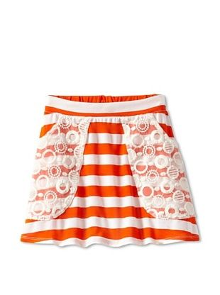 69% OFF Millions Of Colors Girl's Lace Pocket Striped Skirt (Orange Big Stripe)