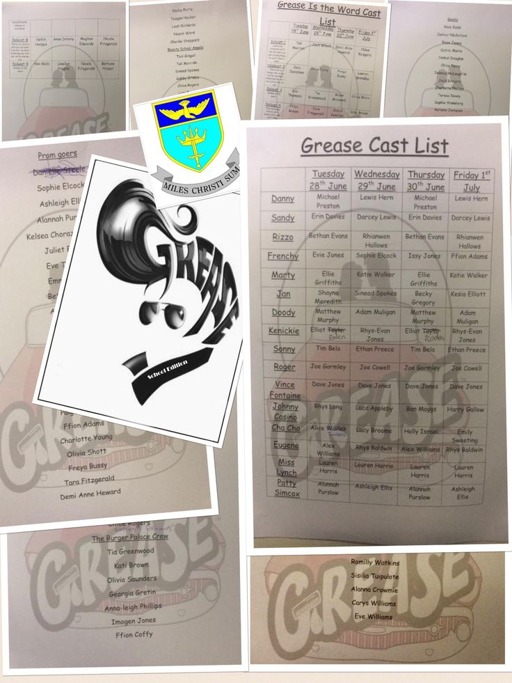 "St Alban's all School production of Grease cast list ""2016"""