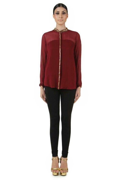 Maroon appliqued top availabe at www.sumayastore.com