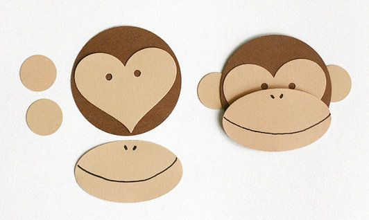 Paper Monkey Face from circles, heart, and oval! Easy peasy- I've done this design before but used circles for the eyes, this is much easier.
