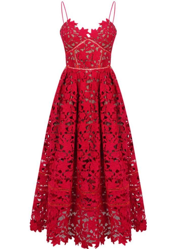 Choies Spaghetti Strap Backless Lace Crochet Dress, $39; choies.com     - ELLE.com