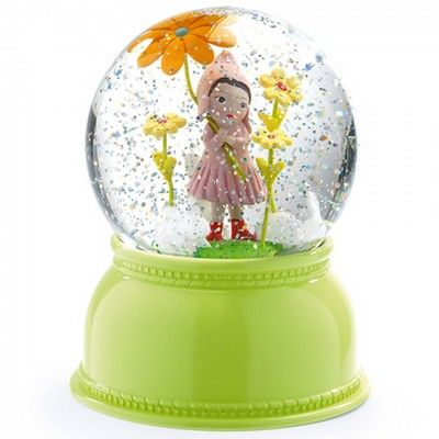 Sweet Girl Snow Globe Night Light from the Little Big Room range by French brand Djeco. This colourful night light lights up and has a fan inside that circulates the glitter. The gentle light changes colour every few seconds. Beautifully gift boxed.