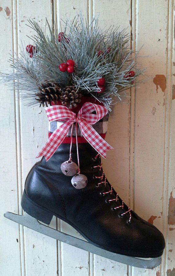 Christmas decor, Decorated Ice Skate, Christmas Ice skate ...