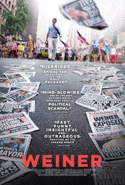 This is a poster for the documentary about the series of scandals surrounding Anthony Weiner during his 2013 run for mayor of New York City. This poster gives a sense of the man, and the trail of salacious scandal left in his wake.