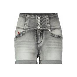 CoolCat denim high waist short voor dames. De short van stretch kwaliteit heeft een skinny fit en een high waist met korset effect. De short heeft een ritssluiting, een rood hartje op de voorkant en vastgestikte randen aan de onderkant. De denim short heeft 2 steekzakken en een pocketzakje op de voorkant en 2 steekzakken op de achterkant. De binnenbeenlengte in maat 134/140 is 5,5 CM, per maat wordt de short 0.5 CM groter of kleiner.