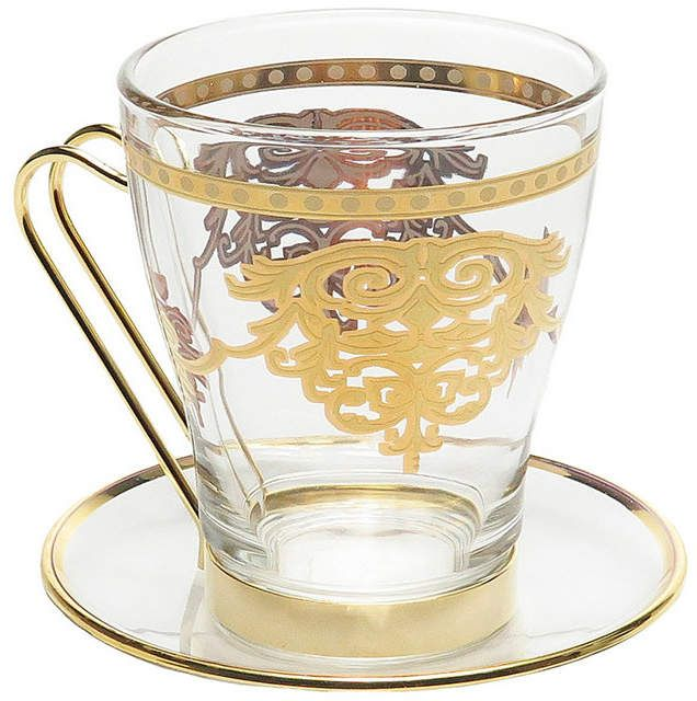 Classic Touch Set Of 6 Tea Sets With Rich Gold Design Reviews Glassware Dining Macy S Tea Cups Tea Set Gold Design