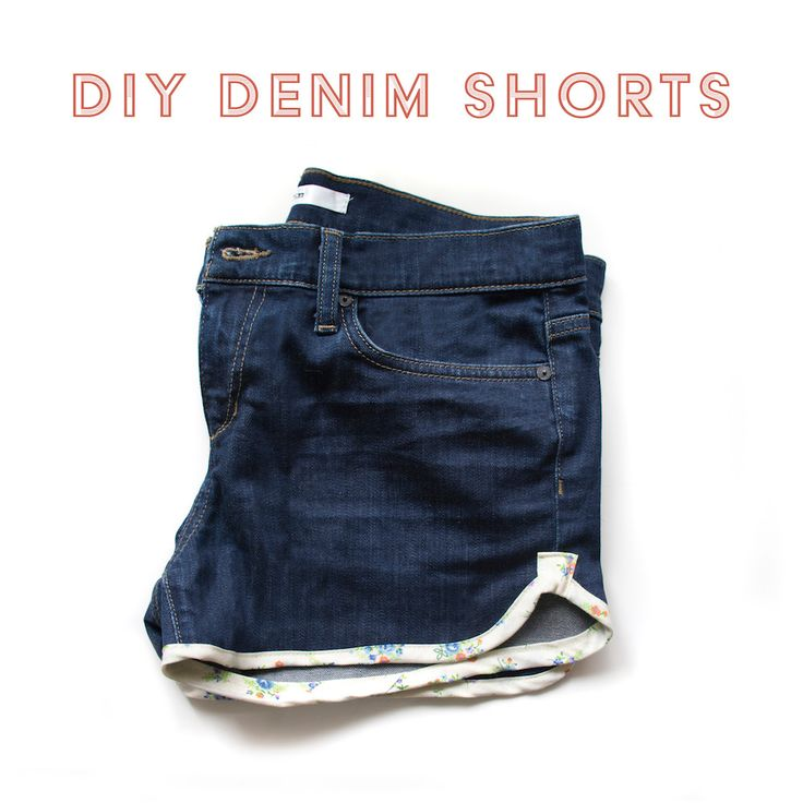 MATERIALS: All you need is an old pair of jeans and some bias tape!   1. CUT your pants to your desired length. I find my ideal shorts length by  standing up straight with my hand by my side, about halfway down my middle  finger is where I want my shorts to hit. It may be different for you! I