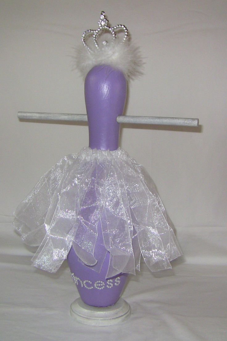 "Upcycled Bowling Pin: ""Princess"" Jewelry/Trinket Holder...use ribbon skirt to pin hair bows to."