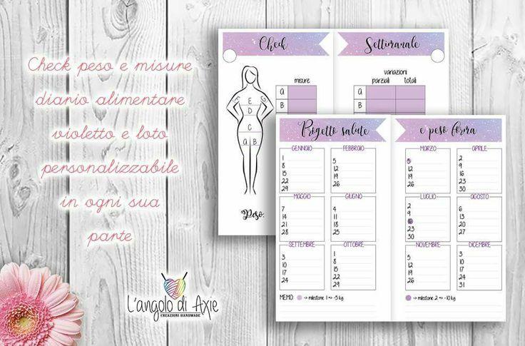Check peso&misure a tema violetto e stelle. Comprensivo di visione annuale. Personalizzabile in ogni sua parte.