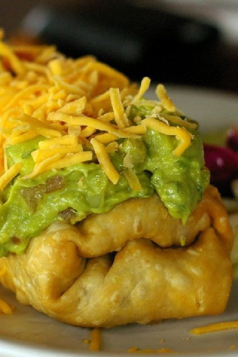 Oven-Fried Chicken Chimichangas 280 calories each for chimichanga only - guacamole cheese and sour cream as pictured extra calories