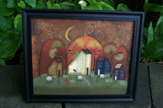 Primitive Fall Pumpkin Saltbox CanvasHandpainted by Primgal
