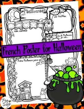 French poster for Halloween ~ L'halloween! Halloween is very exciting for kids so why not get them writing and drawing about it?!