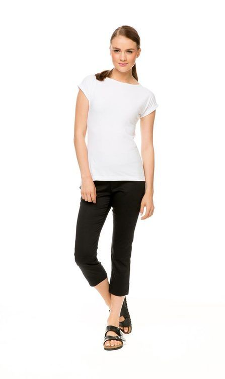 Capri Pant in black, $69.00. Pictured with Classic Knit Tee in white.