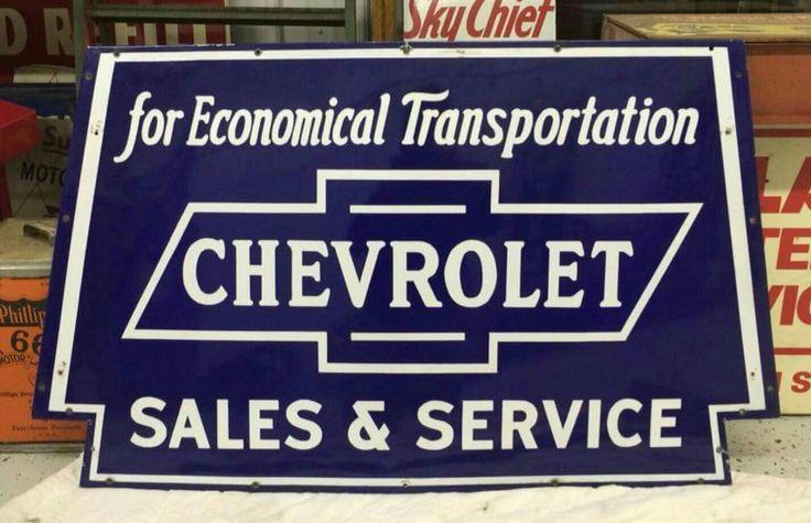 Original Chevrolet Sales and Service Porcelain Sign