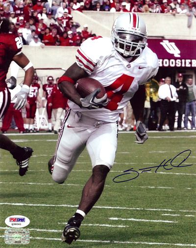 Santonio Holmes Autographed 8x10 Photo Ohio State Buckeyes PSA/DNA Stock #21120