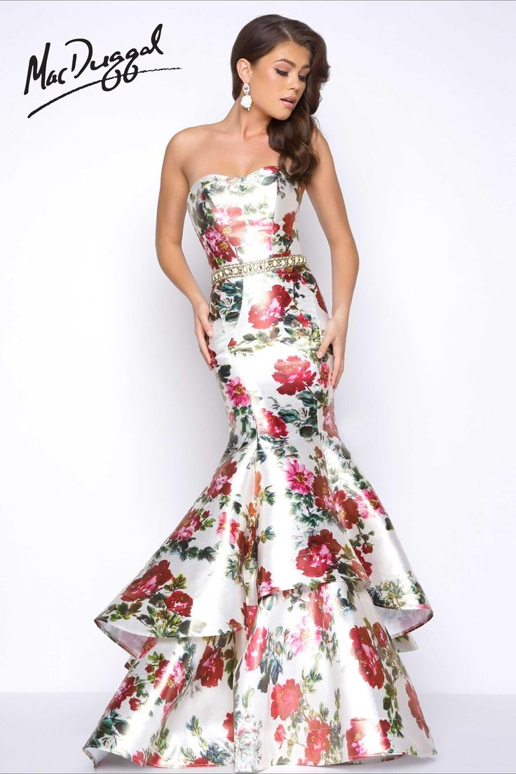 Floral Print Mermaid Prom Dress