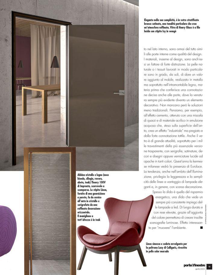 Servizio redazionale dedicato alla porta a battente bronzo con stipite Isy all'interno della rivista Porte&Finestre di Aprile 2015.