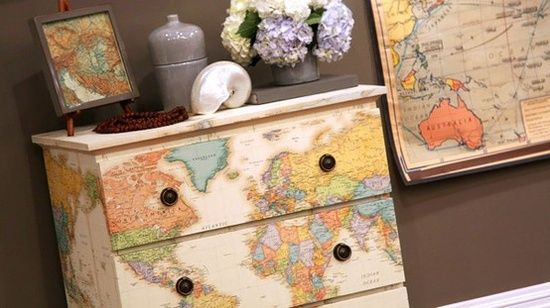 Dishfunctional Designs: How To Upcycle Thrift Shop Finds Into Trendy Home Decor-Dresser Decoupaged With Maps