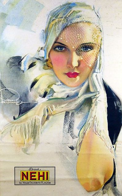 By Rolf Armstrong (1889-1960). This made me swoon...and it's an ad for a soda.
