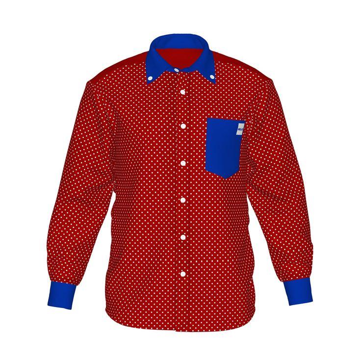 ●ポップな存在感のカジュアルな配色。●色で個性を際立たせ、柔らかな印象を感じるドット柄。●メンズ・レディース問わず着用していただけるデザイン。■「Hello」は『制服でも、ユニフォームでも、タウンファッションでも。演出シーンはあなた次第。』がコンセプト。 ■襟・袖・ポケットにアクセントカラーを使用した「HELLO」の「Accent」シリーズ。/HELLO Accent01 RED - 赤(白ドット)×青 - HELLO