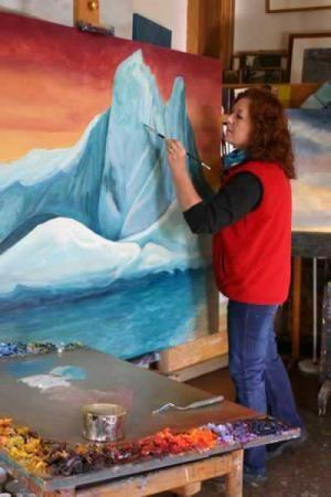 Jenni Mitchell at work in her Eltham Studio