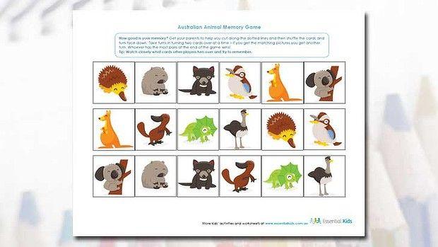 Australian Animal Memory Game - free printable