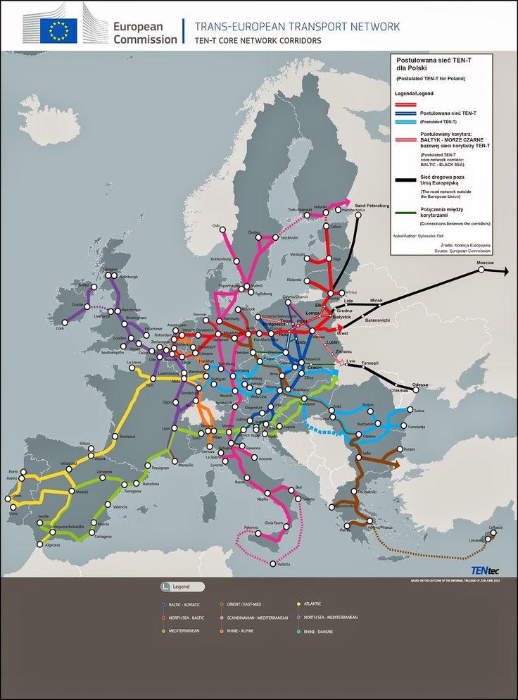 Postulowana sieć TEN-T dla Płocka – kluczowego ośrodka dla krajowego sektora paliwowo-energetycznego i Polski z proponowanym przebiegiem dróg.