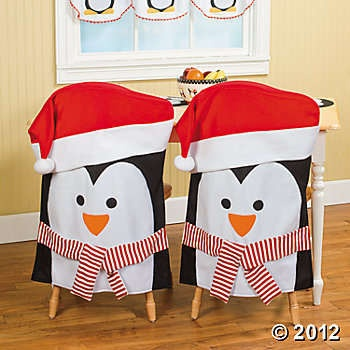 Set 2 Holiday Penguin Chair Covers Christmas Kitchen Decor | eBay