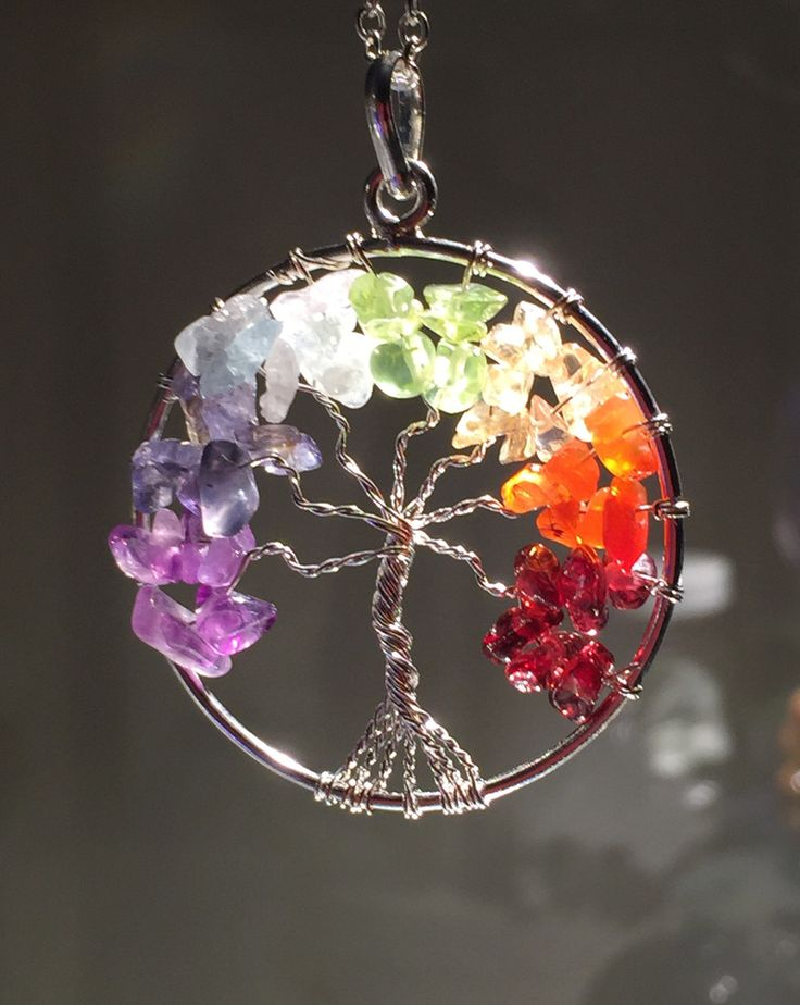 New! Chakra Tree of Life wire wrap Pendant