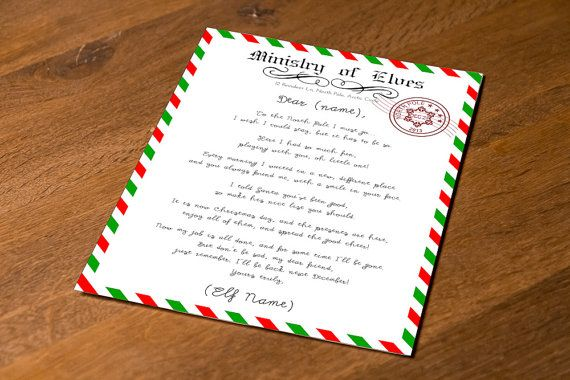 Know any Elf on the Shelf? This cute goodbye poem will make the transition easier when the Elf leaves to the North Pole for the year. Elf Goodbye Printable Letter Exclusive Personalized, by FestivaPartyDesign, $5.00 on Etsy