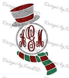 Snowman Monogram Frame SVG Christmas SVG File by DesignedbyKandJ