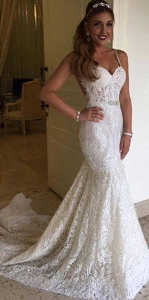 Elegant Lace Mermaid Wedding Dresses Spaghettis Straps Bridal Gowns