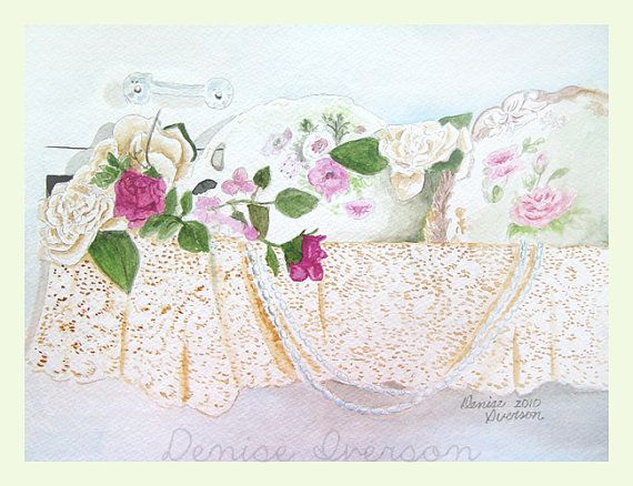 Pink Roses in a Shabby Chic Drawer with Lace Painting - Original Watercolor 9x12 by Denise Iverson