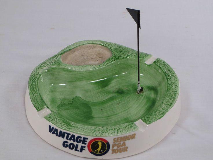 Fun HTF Vantage Golf Senior PGA Tour Putting Greens Hole in One Figural Ashtray #VantageGolf