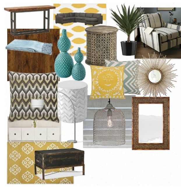 Wood and teal with yellow, metallic and grey accents. For den, to compliment the living room.
