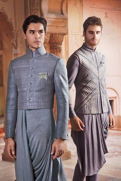 cowl style kurta , draped kurta, short jacket, grey jacket, buttoned, bandhgala, short bandhgala, father of the groom, brother of the groom