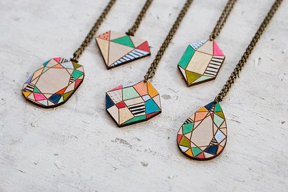 Handpainted gem stone pendants designed and hand painted by me! The design is lasercut on wood and hand painted. Pendants measures appox 1.5 inches by