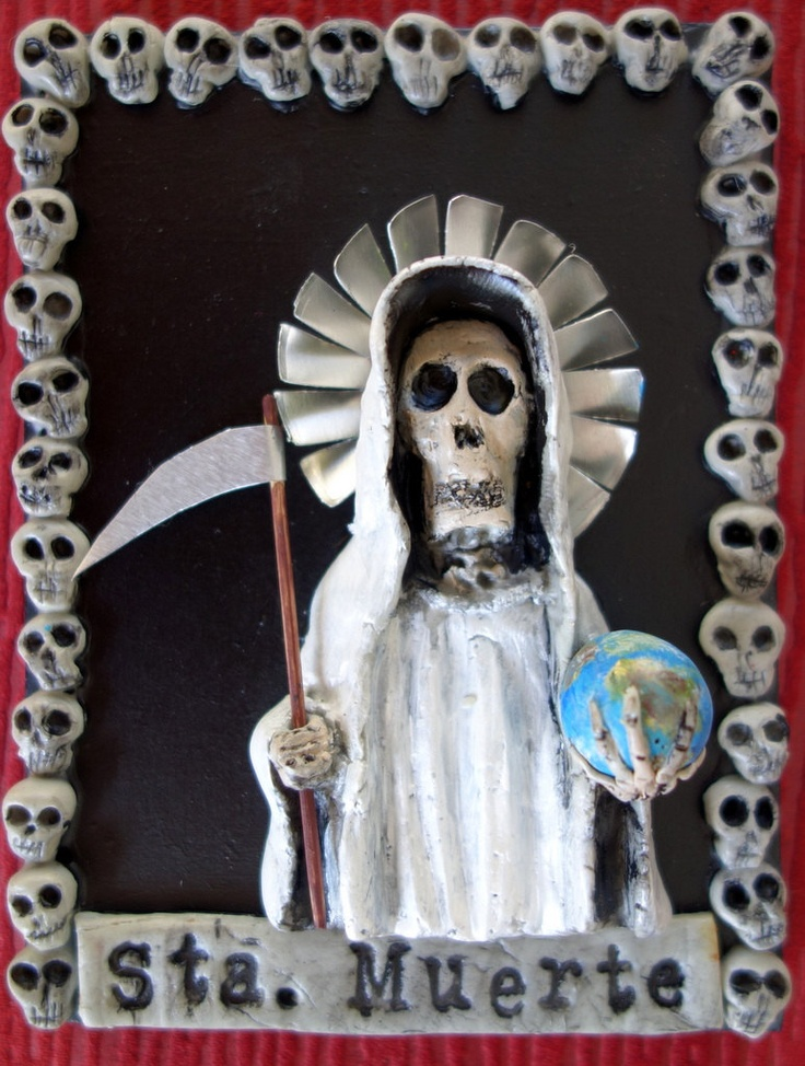 White Santa Muerte Holy Death Statue plaque with easel Grim Reaper. $39.00, via Etsy.