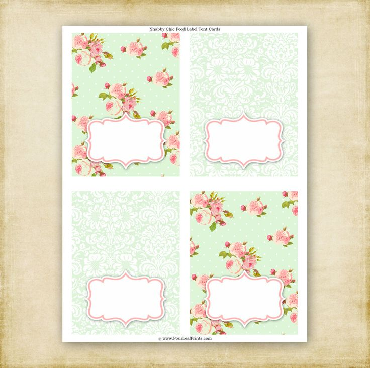 Shabby Chic - Birthday or Baby Shower - Folded Food Label Tent Cards - Printable - DIY. $6.00, via Etsy.