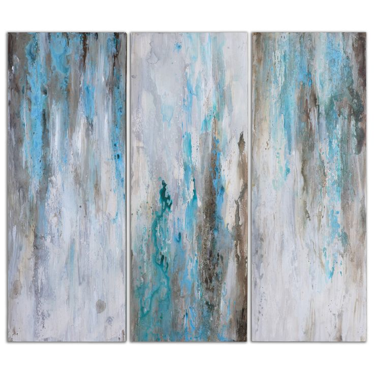 Serenity is yours across three canvases. Handpainted blues, grays and whites wash together, stretched over a wood frame. May be hung horizontally or vertically. Due to the handcrafted nature of this a                                                                                                                                                      More