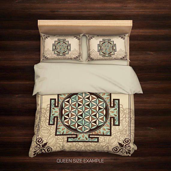 Sacred Yantra Duvet Cover,Sri Yantra Mandala,Boho Bedding,Hippie Bedding,Bohemian Duvet Cover,Chakra Yantra,Indie Bedding