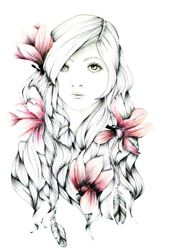 Magnolia #girl #drawing #magnolia #flower #art