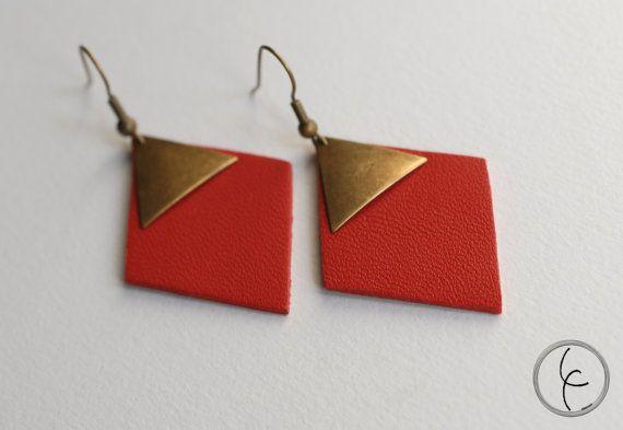 Boucles d'oreilles losanges en cuir et laiton