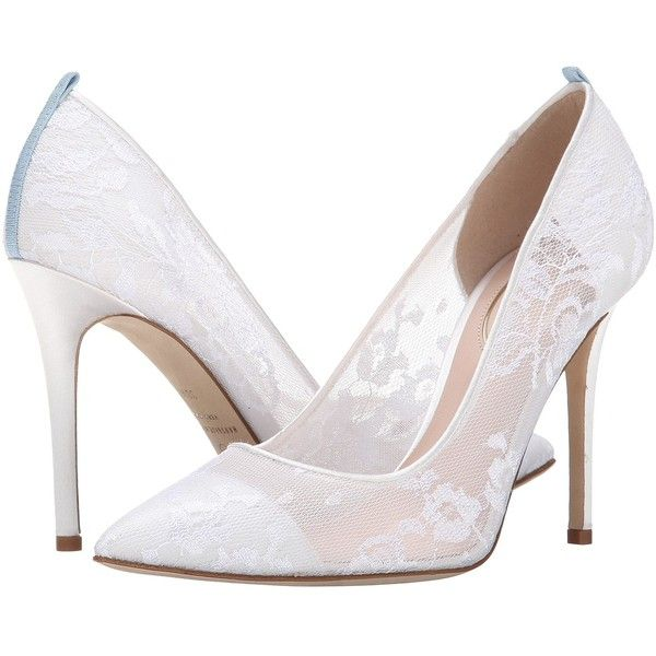 SJP by Sarah Jessica Parker Fawn Lace (White Satin) Women's Shoes ($365) ❤ liked on Polyvore featuring shoes, pumps, heels, pointy-toe pumps, white heel pumps, leather sole shoes, white satin shoes and white lace pumps